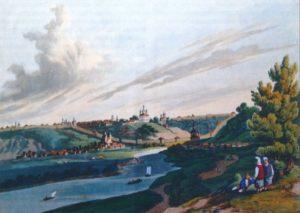 ВИД ГОРОДА СМОЛЕНСКА. РАСКРАШЕННАЯ ГРАВЮРА. 1814 г. ЛОНДОН