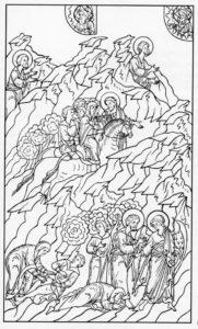 МОИСЕЙ ВОЗВРАЩАЕТСЯ В ЕГИПЕТ. ИЛЛЮСТРАЦИЯ ЛИЦЕВОЙ БИБЛИИ. 1914 г.
