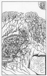 ЕГИПТЯНЕ НАСТИГАЮТ ИЗРАИЛЬТЯН У ЧЕРМНОГО МОРЯ. ИЛЛЮСТРАЦИЯ ЛИЦЕВОЙ БИБЛИИ. 1914 г.