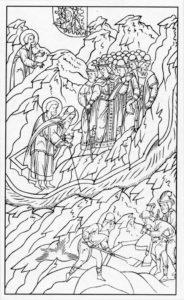 ПЕРВАЯ КАЗНЬ ЕГИПЕТСКАЯ – МОИСЕЙ И ААРОН ПРЕВРАЩАЮТ ВОДУ В КРОВЬ. ИЛЛЮСТРАЦИЯ ЛИЦЕВОЙ БИБЛИИ. 1914 г.