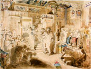 ФАРАОН ПРОСИТ МОИСЕЯ И ААРОНА ВЫВЕСТИ ЕВРЕЙСКИЙ НАРОД ИЗ ЕГИПТА. 1840–50-е гг. ХУД. А. А. ИВАНОВ (1806–1858)