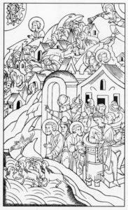 ВОСЬМАЯ КАЗНЬ – САРАНЧА. ИЛЛЮСТРАЦИЯ ЛИЦЕВОЙ БИБЛИИ. 1914 г.