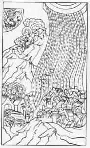 СЕДЬМАЯ КАЗНЬ – ГРАД. ИЛЛЮСТРАЦИЯ ЛИЦЕВОЙ БИБЛИИ. 1914 г.