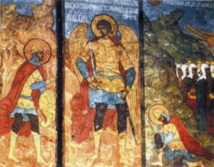ЯВЛЕНИЕ АНГЕЛА ГОСПОДНЯ ИИСУСУ НАВИНУ. РОСПИСЬ АРХАНГЕЛЬСКОГО СОБОРА МОСКОВСКОГО КРЕМЛЯ. 1652-1666 гг.