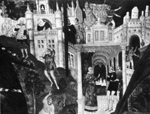 РААВ БЛУДНИЦА ТАЙНО ВЫПУСКАЕТ ПОСЛАННИКА ИИСУСА НАВИНА. ФРЕСКА ЦЕРКВИ ИОАННА ПРЕДТЕЧИ В ЯРОСЛАВЛЕ. 1694-95 гг.