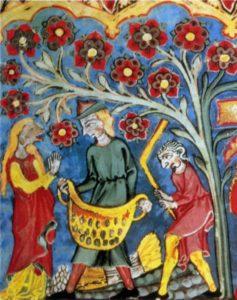 РУФЬ ПОЛУЧАЕТ В ПОДАРОК ОТ ВООЗА ШЕСТЬ МЕР ЯЧМЕНЯ. МИНИАТЮРА ИЗ РУКОПИСИ (1315–1320 гг.)