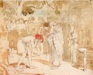 ПРОРОК САМУИЛ ПОМАЗЫВЕТ ДАВИДА НА ЦАРСТВО. АКВАРЕЛЬ. 1840–1850-е гг. ХУД. А. ИВАНОВ (1806–1858)