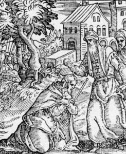 ПРОРОК САМУИЛ ПОМАЗЫВАЕТ САУЛА НА ЦАРСТВО ВОЗЛИВАЯ ЕМУ МАСЛО НА ГЛАВУ. ИЛЛЮСТРАЦИЯ ИЗ БИБЛИИ 1754 г. ВЕНЕЦИЯ