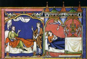 ПРИЗВАНИЕ ПРОРОКА САМУИЛА. ИЛЛЮСТРАЦИЯ ИЗ БИБЛИИ (1250 г.)