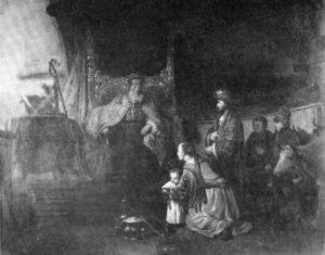 АННА ПРЕДСТАВЛЯЕТ ПЕРВОСВЯЩЕННИКУ ИЛИЮ СВОЕГО СЫНА САМУИЛА. 1668 г. ХУД. ГЕРБРАНДТ ВАН ЭКХОУТ. ЛУВР. ПАРИЖ