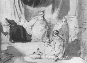 АННА ПРЕДСТАВЛЯЕТ ИЛИЮ СВОЕГО СЫНА САМУИЛА. РИСУНОК 1668 г. ХУД. Г. ВАН ДЕН ЭКХОУТ. ПАРИЖ ЛУВР