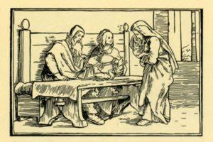 ПЛАЧУЩАЯ АННА ПЕРЕД СИДЯЩИМИ ЗА СТОЛОМ ЕЛКАНОЙ И ФЕННАНОЙ. ИЛЛЮСТРАЦИЯ ИЗ БИБЛИИ 1554 г. ХУД. Г. ГОЛЬБЕЙН МЛАДШИЙ (1497–1543)