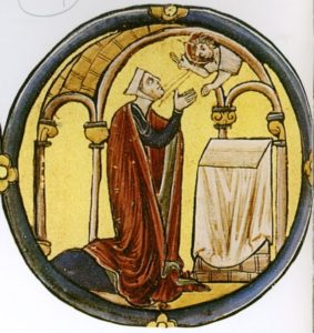 В СИЛОМСКОМ ХРАМЕ АННА УСЕРДНО МОЛИТ БОГА О ДАРОВАНИИ ЕЙ СЫНА. МИНИАТЮРА ИЗ БИБЛИИ. XIII в.