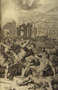 УБИЙСТВО ПЯТИ ЦАРЕЙ МАДИАМСКИХ. ИЛЛЮСТРАЦИЯ БИБЛИИ. 1728 г.