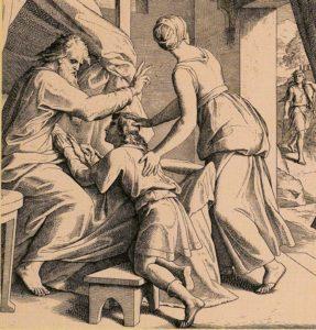 ИСААК БЛАГОСЛОВЛЯЕТ ИАКОВА. ХУД. Ю. Ш. ФОН КАРОЛЬСФЕЛЬД (1794–1872)