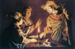 ИСАВ УСТУПАЕТ ПЕРВОРОДСТВО ИАКОВУ ЗА ЧЕЧЕВИЧНУЮ ПОХЛЕБКУ. ХУД. МАТТИАС ШТОМЕР (1600-1651)