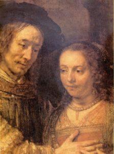 ИСААК И РЕВЕККА.ФРАГМЕНТ. 1666 г. ХУД. РЕМБРАНДТ ХАРМЕНС ВАН РЕЙН (1606–1669). РИКСМУЗЕУМ. АМСТЕРДАМ