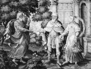 ЦАРЬ АВИМЕЛЕХ ВОЗВРАЩАЕТ АВРААМУ ЕГО ЖЕНУ САРРУ. ГОБЕЛЕН XVII в. ФРЕЙБУРГ