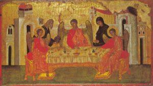 ГОСТЕПРИИМСТВО АВРААМА. ИКОНА. ВИЗАНТИЯ. XIV в.