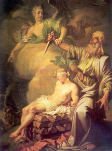 АВРААМ ПРИНОСИТ В ЖЕРТВУ СЫНА СВОЕГО ИСААКА. 1765 г. ХУД. ЛОСЕНКО. ГРМ. СПБ.
