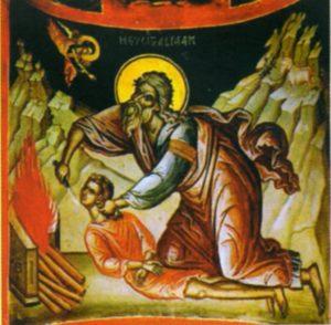 АВРААМ ПРИНОСИТ В ЖЕРТВУ ИСААКА. ИКОНА