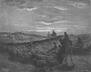 АВРААМ ПЕРЕСЕЛЯЕТСЯ В ЦЕМЛЮ ХАНААНСКУЮ. ГРАВЮРА Г. ДОРЕ (1832–1883)