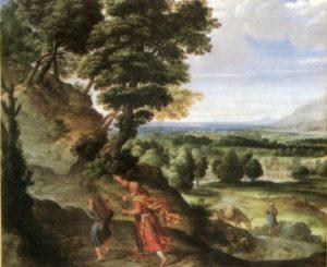 АВРААМ ВЕДЕТ ИСААКА К МЕСТУ ЖЕРТВОПРИНОШЕНИЯ. 1602 г. ХУД. ДОМЕНИКИНО (1581–1641). ФОРД УОРС. МУЗЕЙ