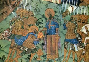 МЕЛХИСЕДЕК БЛАГОСЛОВЛЯЕТ АВРААМА. ФРЕСКА ЦЕРКВИ ВОСКРЕСЕНИЯ ХРИСТОВА. РОМАНОВ-БОРИСОГЛЕБСК. XVII в,