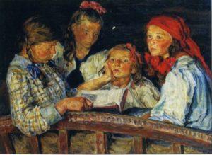 ЗА КНИЖКОЙ. ХУД. Н. П. БОГДАНОВ-БЕЛЬСКИЙ. 1915 г.