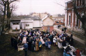 ОСВЯЩЕНИЕ КУЛИЧЕЙ И ПАСОК В ВЕЛИКУЮ СУББОТУ 1991 г.