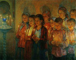 В ЦЕРКВИ. ХУД. Н. П. БОГДАНОВ-БЕЛЬСКИЙ. 1939 г.